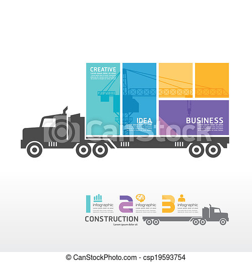 infographic, 概念, 容器, 插圖, 矢量, 卡車, 樣板, 旗幟 - csp19593754
