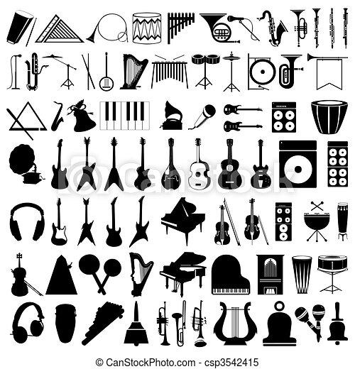 instruments., 插圖, 黑色半面畫像, 矢量, 彙整, 音樂 - csp3542415