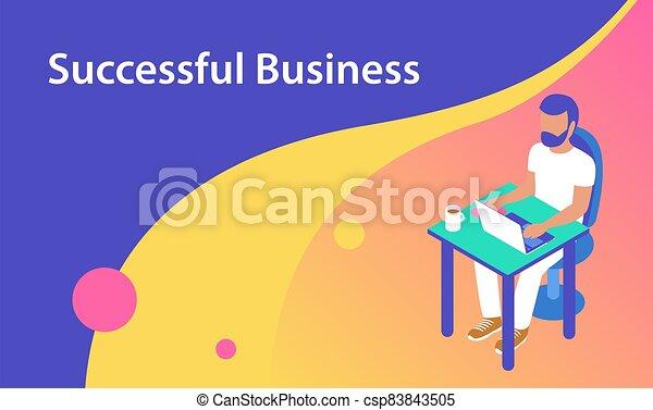 laptop., 工作, 人, 辦公室 - csp83843505