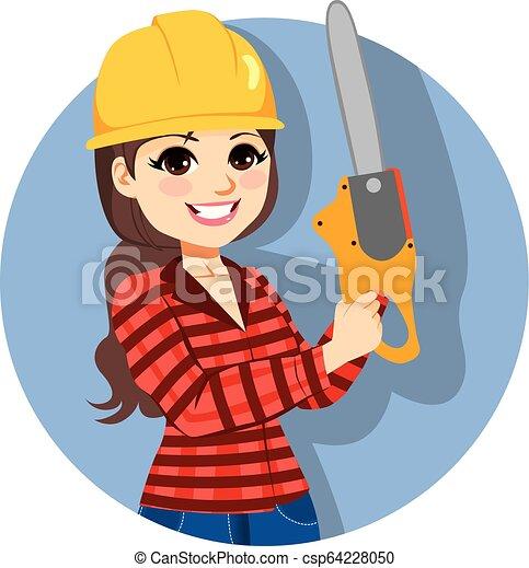 lumberjack, chainsaw, 藏品, 女性 - csp64228050