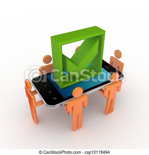 mark., 流動, 人們, 電話, 壁虱, 綠色, 3d, 小 - csp10118494