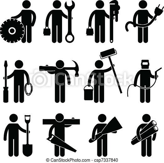 pictog, 工作, 建設工人, 圖象 - csp7337840