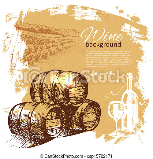 retro, 飛濺, 手, 酒, 團點, 設計, 背景。, 葡萄酒, illustration., 畫 - csp15722171