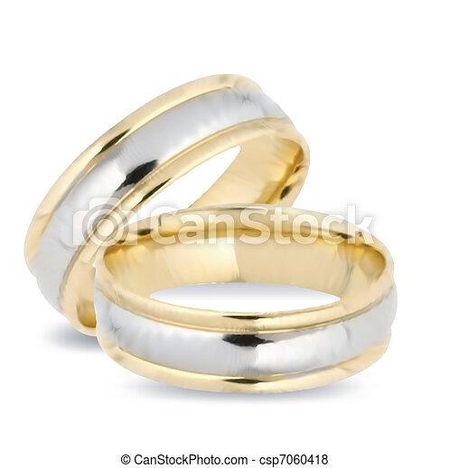 rings., 矢量, 金, 婚禮 - csp7060418