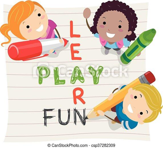 stickman, 學習, 孩子, 玩, 樂趣 - csp37282309