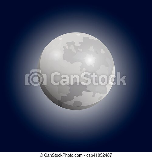 telescope., 套間, 滿月, luna, 矢量, 看見, icon. - csp41052487