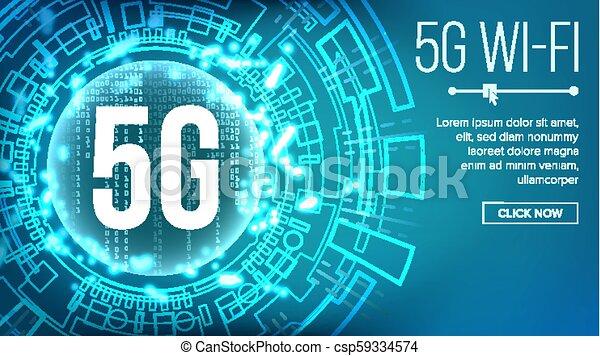 vector., 5g, 標准, 無線, 背景, 未來, 網際網路, wi-fi, connection., 描述技術, network., telecommunication. - csp59334574