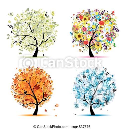 winter., 美麗, 藝術, 春天, 秋天, -, 樹, 四, 設計, 季節, 你, 夏天 - csp4837676